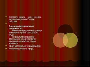 Сфера (гр. sphaira — шар) — предел распространения какого-либо действия. Сфер