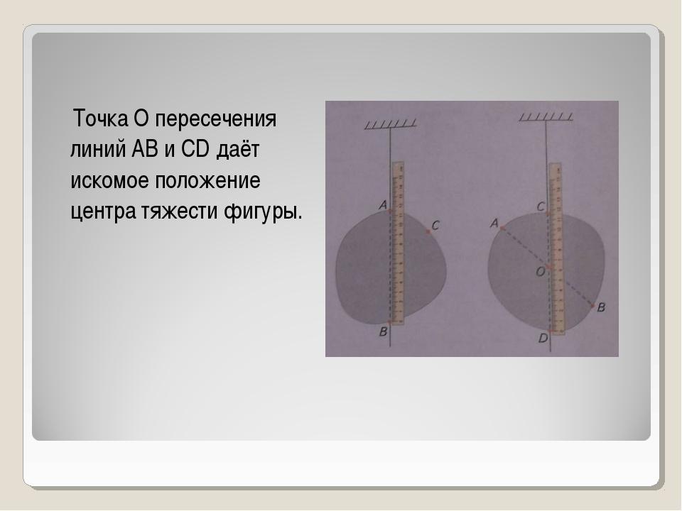 Точка О пересечения линий АВ и CD даёт искомое положение центра тяжести фигу...