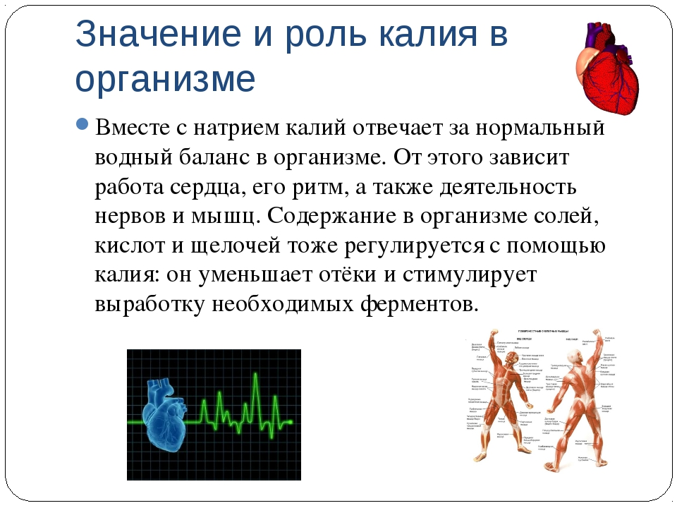 Значение и роль калия в организме Вместе с натрием калий отвечает за нормальн...