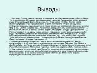Выводы 1. Биоразнообразие цианопрокариот, почвенных и литофильных водорослей