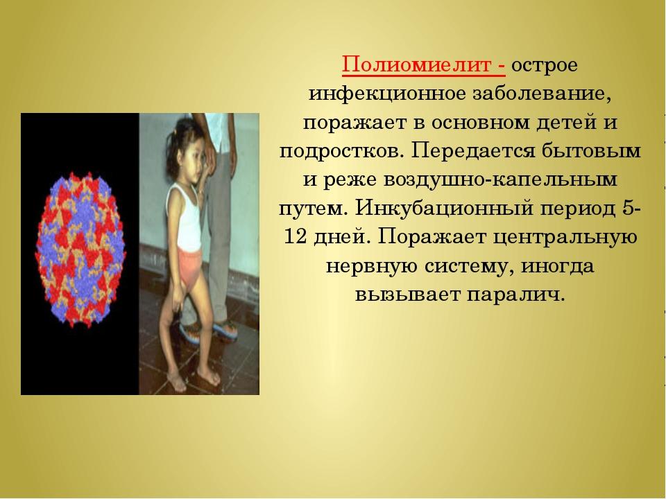 Полиомиелит - острое инфекционное заболевание, поражает в основном детей и по...