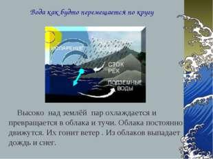Вода как будто перемещается по кругу Высоко над землёй пар охлаждается и прев
