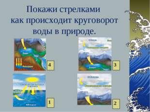 Покажи стрелками как происходит круговорот воды в природе. 1 2 3 4
