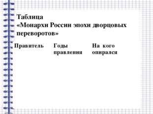 Таблица «Монархи России эпохи дворцовых переворотов» ПравительГоды правления