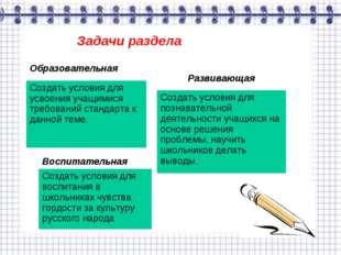 Задачи раздела Образовательная Создать условия для усвоения учащимися требова