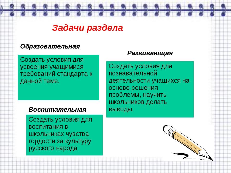 Задачи раздела Образовательная Создать условия для усвоения учащимися требова...