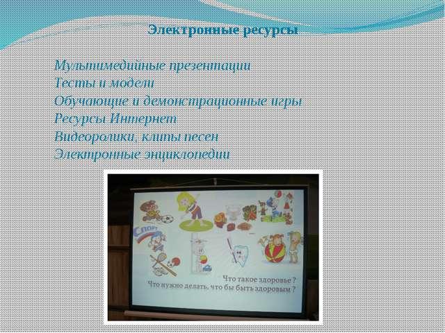 Электронные ресурсы  Мультимедийные презентации Тесты и модели Обучающие...