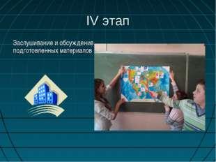IV этап Заслушивание и обсуждение подготовленных материалов