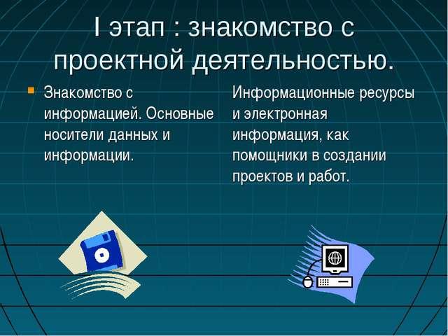 I этап : знакомство с проектной деятельностью. Знакомство с информацией. Осно...