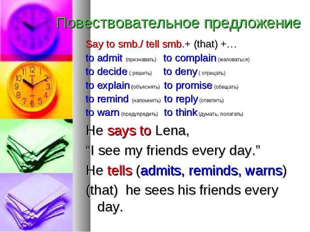 Повествовательное предложение Say to smb./ tell smb.+ (that) +… to admit (при...