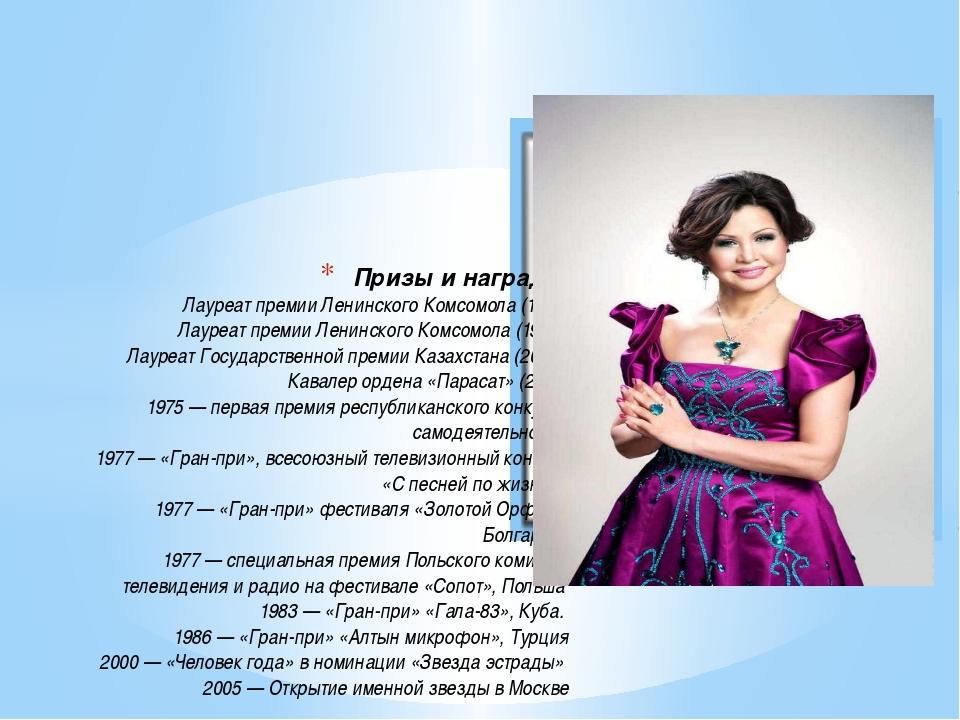 Призы и награды Лауреат премии Ленинского Комсомола (1976) Лауреат премии Ле...