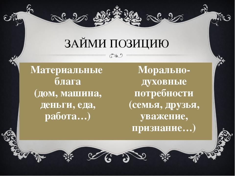 ЗАЙМИ ПОЗИЦИЮ Материальные блага (дом, машина, деньги, еда, работа…) Моральн...