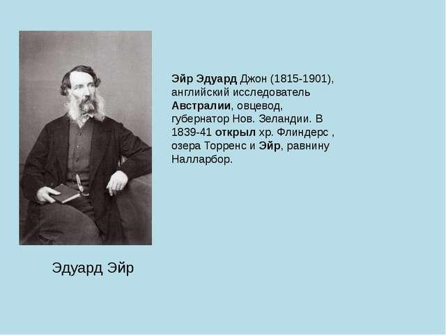 Эдуард Эйр Эйр Эдуард Джон (1815-1901), английский исследователь Австралии, о...