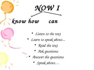 NOW I know how can Listen to the text Learn to speak about... Read the text A