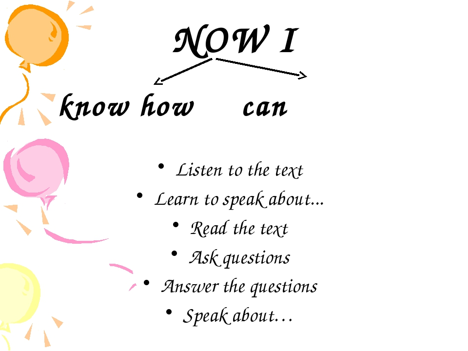NOW I know how can Listen to the text Learn to speak about... Read the text A...