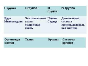 I группа II группаIII группаIV группа Ядро МитохондрияЭпителиальная ткань