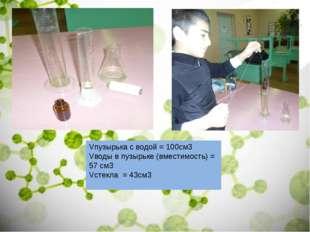 Vпузырька с водой = 100см3 Vводы в пузырьке (вместимость) = 57 см3 Vстекла =