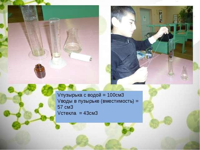 Vпузырька с водой = 100см3 Vводы в пузырьке (вместимость) = 57 см3 Vстекла =...