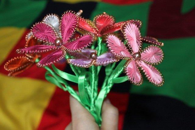 Цветы из ниток и проволоки - Изготавлимаем цветы
