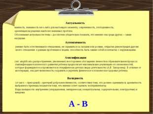 А - В Актуальность важность, значимость чего-либо для настоящего момента, сов