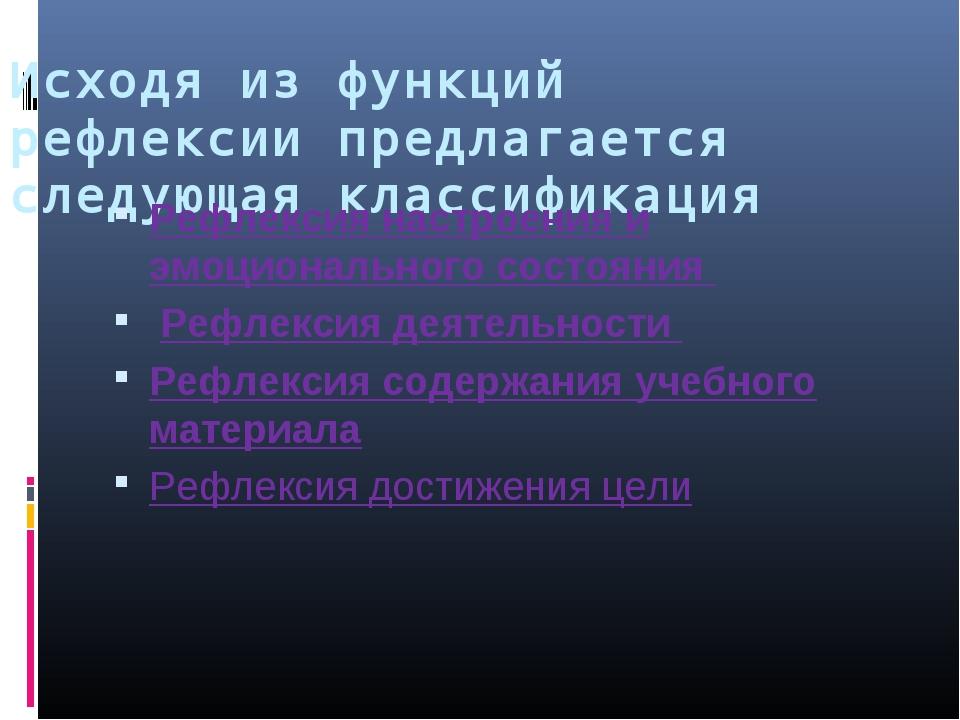 Исходя из функций рефлексии предлагается следующая классификация Рефлексия на...