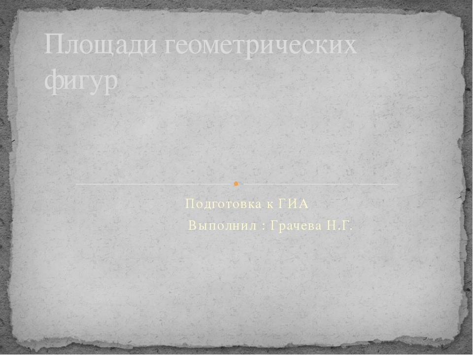 Подготовка к ГИА Выполнил : Грачева Н.Г. Площади геометрических фигур