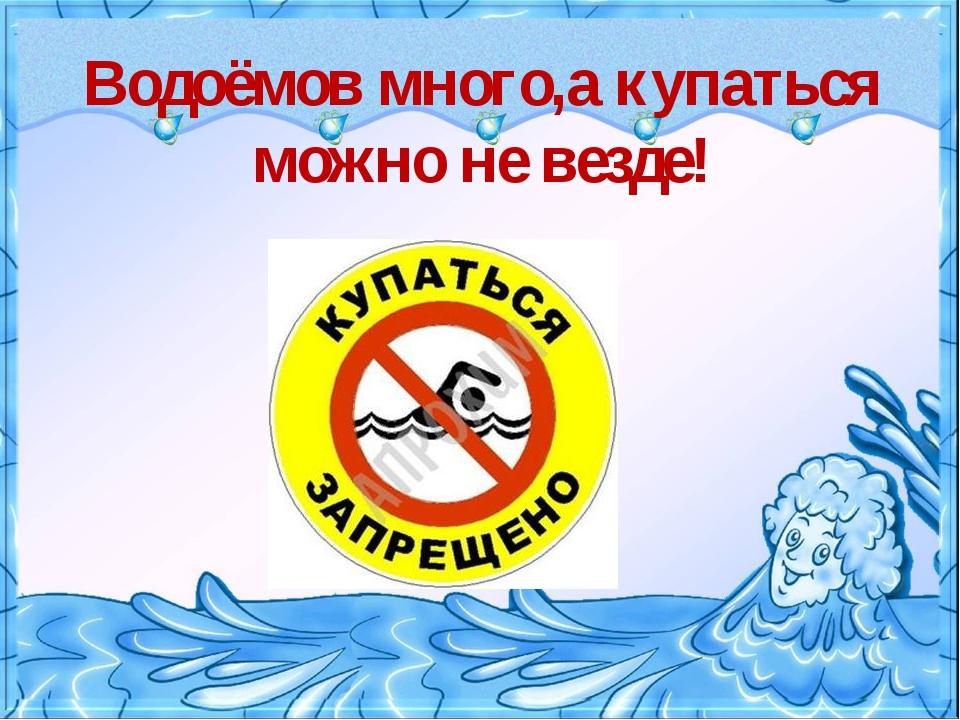 Водоёмов много,а купаться можно не везде!