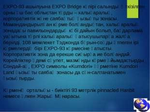 ЕХРО-93 ашылуына EXPO Bridge көпірі салынды. Өткізілген орны үш бас облыстан
