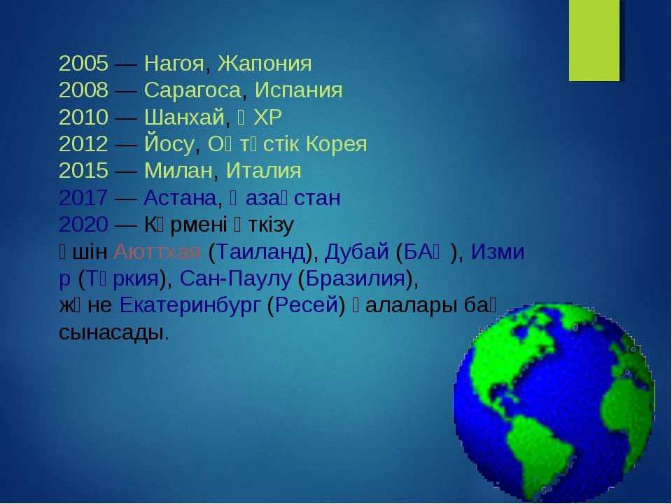 2005—Нагоя,Жапония 2008—Сарагоса,Испания 2010—Шанхай,ҚХР 2012—Йосу...