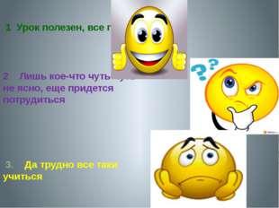 1 Урок полезен, все понятно 2 Лишь кое-что чуть-чуть не ясно, еще придется п