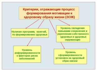 Критерии, отражающие процесс формирования мотивации к здоровому образу жизни