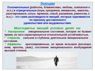 Эмоции Положительные (радость, блаженство, любовь, симпатия и т.п.) и отрицат