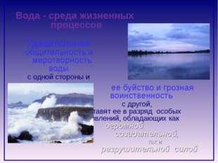 Вода - среда жизненных процессов Удивительная общительность и миротворность в