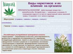 Виды наркотиков и их влияние на организм ПРЕПАРАТЫ КОНОПЛИ - Действующие вещ