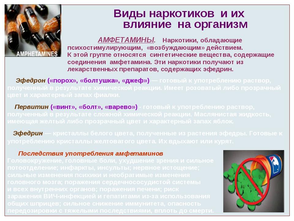 Виды наркотиков и их влияние на организм АМФЕТАМИНЫ. Наркотики, обладающие п...