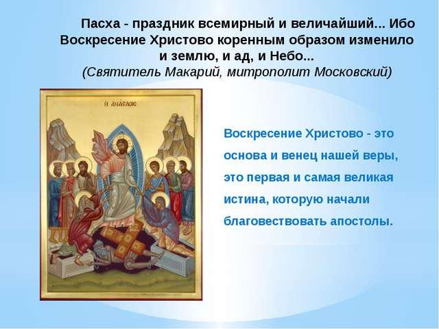 Пасха - праздник всемирный и величайший... Ибо Воскресение Христово коренным...