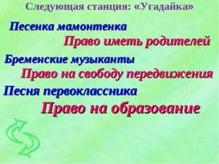 Следующая станция: «Угадайка» Песенка мамонтенка Право иметь родителей Бремен
