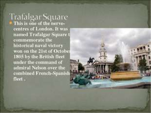 This is one of the nerve-centres of London. It was named Trafalgar Square to