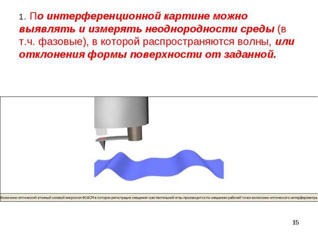 * 1. По интерференционной картине можно выявлять и измерять неоднородности ср...
