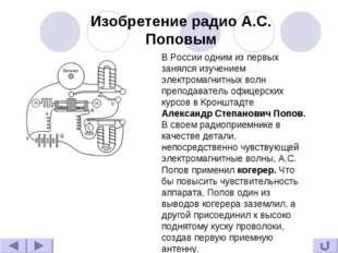 Изобретение радио А.С. Поповым В России одним из первых занялся изучением эле