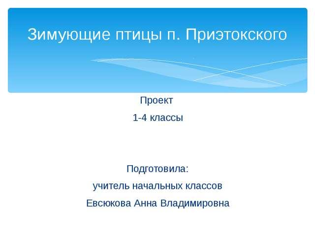Проект 1-4 классы Подготовила: учитель начальных классов Евсюкова Анна Владим...