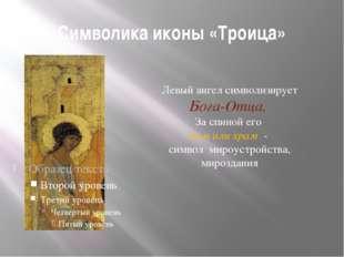 Символика иконы «Троица» Левый ангел символизирует Бога-Отца. За спиной его д