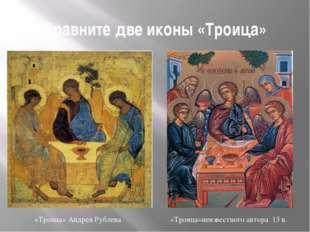 Сравните две иконы «Троица» «Троица» Андрея Рублева «Троица»неизвестного авто