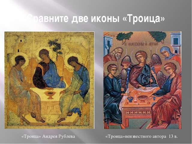 Сравните две иконы «Троица» «Троица» Андрея Рублева «Троица»неизвестного авто...