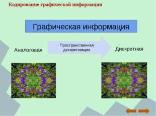 Кодирование графической информации Аналоговая Дискретная Пространственная дис