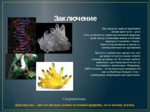 Заключение Мы увидели один из признаков жизни кристалла – рост. Хоть он являе