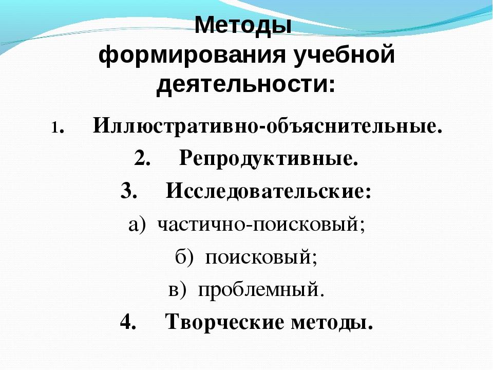 Методы формирования учебной деятельности: 1. Иллюстративно-объяснительны...