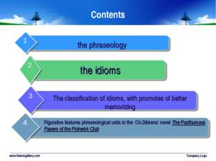 www.themegallery.com Company Logo Contents the phraseology the idioms The cla