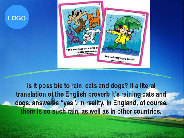 Is it possible to rain cats and dogs? If a literal translation of the English...