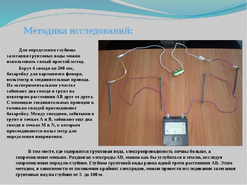 Методика исследований: Для определения глубины залегания грунтовых воды мож...